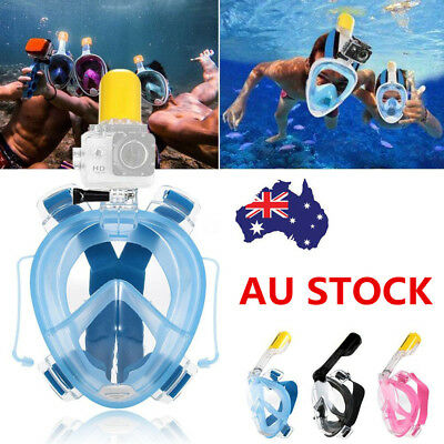 AU Swimming Diving Full Face Breath Anti-fog Mask Surface Snorkel Scuba Glasses