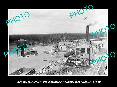 OLD LARGE HISTORIC PHOTO OF ADAMS WISCONSIN, THE RAILROAD ROUNDHOUSE c1910