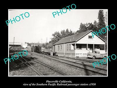 OLD LARGE HISTORIC PHOTO OF PLACERVILLE CALIFORNIA, THE SP RAILROAD DEPOT c1950