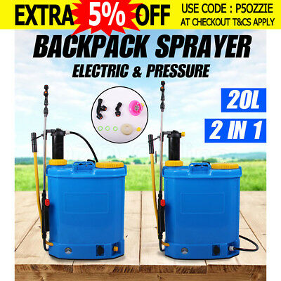 2 IN 1 Pressure/ Electric Backpack Sprayer Weed Farm Garden Pump Chemical Spray