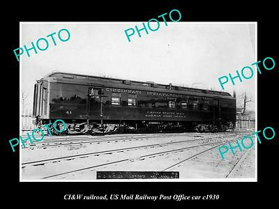 OLD LARGE HISTORIC PHOTO OF THE CI&W RAILROAD, US MAIL RAILWAY PO CAR c1930