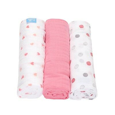 Grobag Unisex 100% Cotton Sweetheart Swirl 3 Pack Gro Muslin Blanket 120 x 120cm