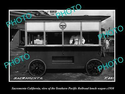 OLD LARGE HISTORIC PHOTO OF SACREMENTO CALIFORNIA, THE SP RAILROAD WAGON c1910