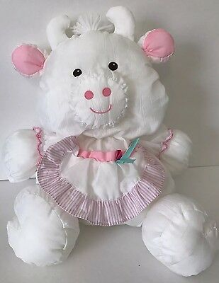 1992 Fisher Price Puffalump White Cow Plush 8091 Attached Bib Apron 8092 8093