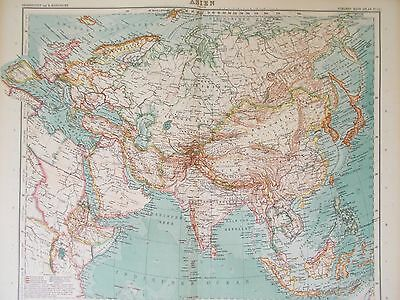 Map of Asia.1912.  Stieler. Perthes. ASIAN CONTINENT. CHINA. INDIA  Antique