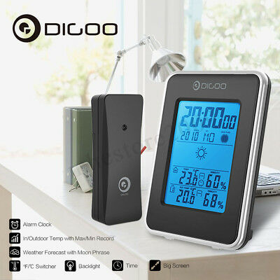 Digoo Weather Station Hygrometer Thermometer Forecast In&Outdoor Sensor Clock