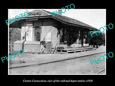 OLD LARGE HISTORIC PHOTO OF CANTON CONNECTICUT, THE RAILROAD STATION c1920