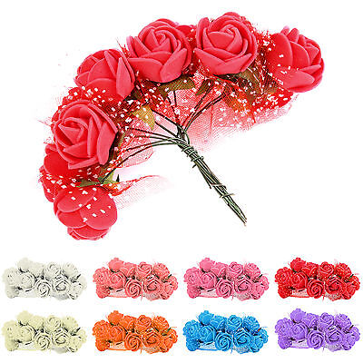 144Pcs Colourfast Foam Roses Artificial Flower Wedding Bride Bouquet Party Prom