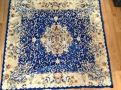Antique vintage heavy velvet  TABLE CLOTH deepest Blue and cream