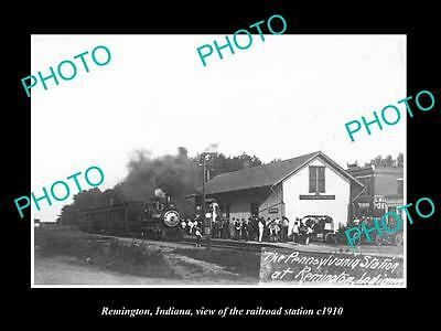Old Large Historic Photo Of Remington Indiana, View Of Railroad Station 1910 1