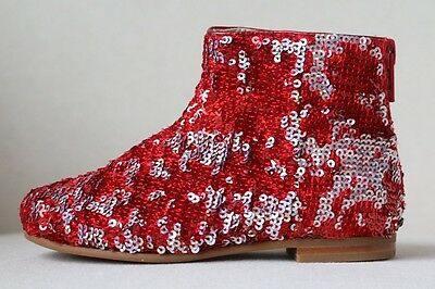 Baby Dior Red And Silver Sequin Boots Eu 24 Uk 6
