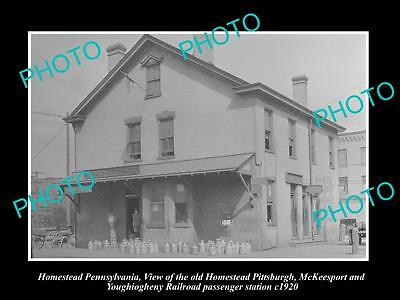 OLD LARGE HISTORIC PHOTO OF HOMESTEAD PENNSYLVANIA, THE RAILROAD STATION c1920