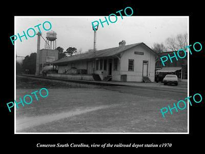 OLD LARGE HISTORIC PHOTO OF CAMERON SOUTH CAROLINA, THE RAILROAD DEPOT c1970