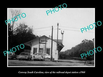 OLD LARGE HISTORIC PHOTO OF CONWAY SOUTH CAROLINA, THE RAILROAD DEPOT c1960