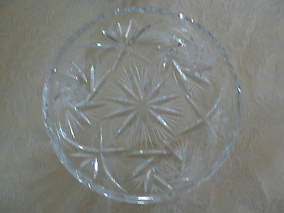 Lovely Vintage American Brilliant Period Cut Glass Hobstars Desert Dish/Plate