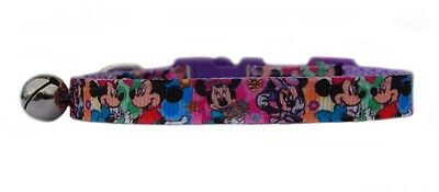 "LILAC PINK  "" MICKEY AND MINNIE      ""  safety kitten cat collar  3 sizes"