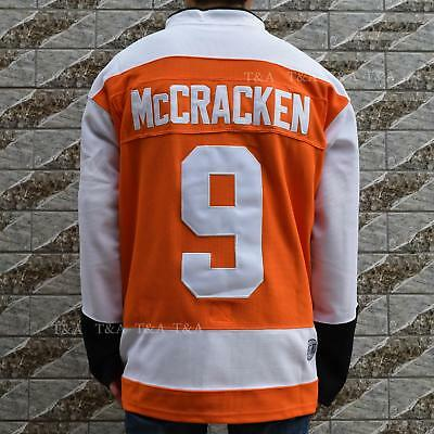 McCRACKEN Syracuse Bulldogs #9 Hockey Jersey Movie Stitched Orange  M-3XL