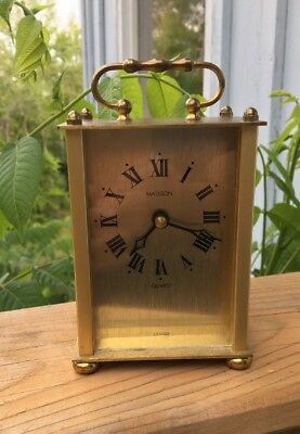 Vintage Brass Clock - Brushed Brass Carriage Clock - Roman Numerals - Desk Clock
