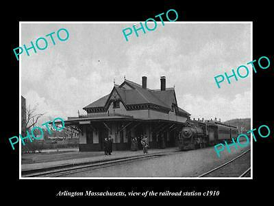 OLD LARGE HISTORIC PHOTO OF ARLINGTON MASSACHUSETTS, THE RAILROAD STATION c1910