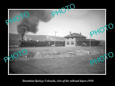 OLD LARGE HISTORIC PHOTO OF THE STEAMBOAT SPRINGS COLORADO RAILROAD DEPOT c1910