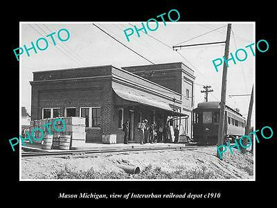 OLD LARGE HISTORIC PHOTO OF MASON MICHIGAN, THE ELECTRIC RAILROAD DEPOT c1910