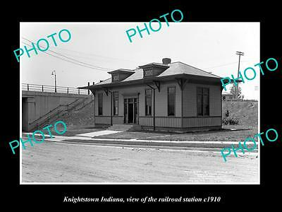 OLD LARGE HISTORIC PHOTO OF KNIGHTSTOWN INDIANA, THE RAILROAD STATION c1910