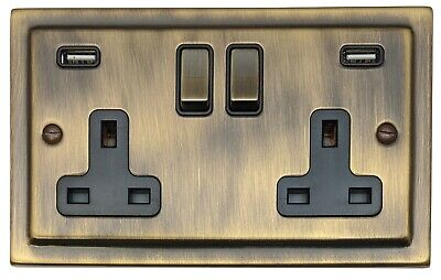 G&H TAB3910 Trimline Victorian Antique Bronze 2 Gang Double Plug Socket 2.1A USB