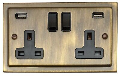 G&H TAB910B Trimline Victorian Antique Bronze 2 Gang Double Plug Socket 2.1A USB