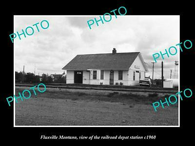 OLD LARGE HISTORIC PHOTO OF FLAXVILLE MONTANA, THE RAILROAD STATION c1960