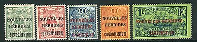 NEW HEBRIDES (French)-1910-11  A lightly mounted mint set to 1f Sg F6-10