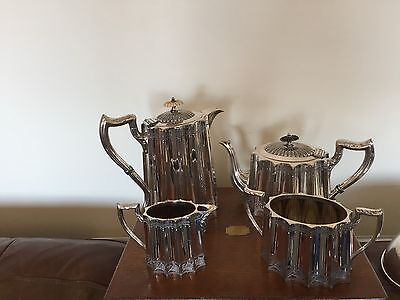 4 Piece Silver Plated Tea/coffee Service With A Nice Panel Design (Sptcs 29C)