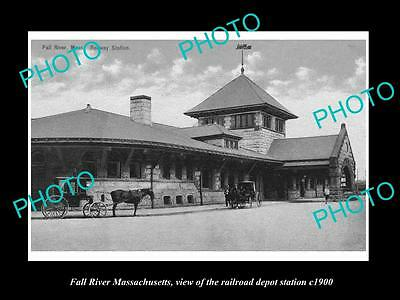 OLD LARGE HISTORIC PHOTO OF FALL RIVER MASSACHUSETTS, THE RAILROAD DEPOT c1900