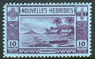 NEW HEBRIDES (French)-1938 10f Violet/Blue.  A mounted mint example Sg F64