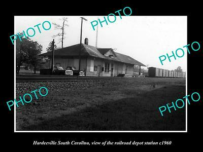 OLD LARGE HISTORIC PHOTO OF HARDEEVILLE SOUTH CAROLINA, THE RAILROAD DEPOT c1960