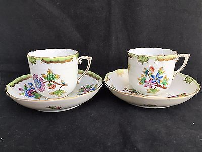 2 X Herend Queen Victoria Mocha cup & saucer 707 VBO green border