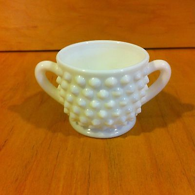 Vintage Milk Glass Hobnail Miniature Sugar Bowl *