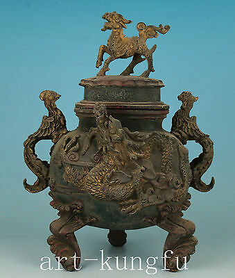 Japan Bronze casting Dragon kylin Statue Buddha Incense Burner