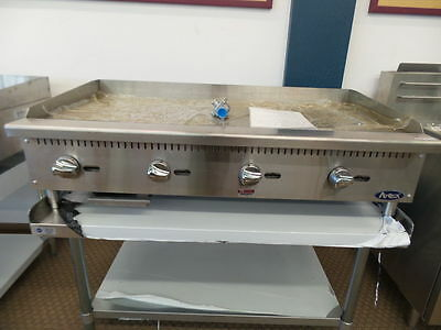 "New 48"" Flat Griddle Manual Ctl With Stainless Equipment Stand Package Deal Gas"