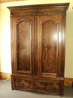 Antique Burl Walnut Two Door Wardrobe Armoire