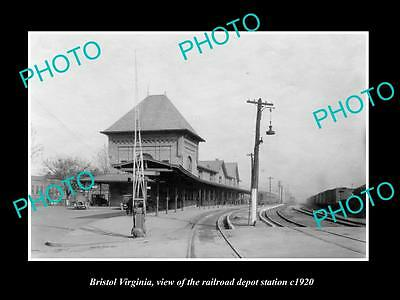 OLD LARGE HISTORIC PHOTO OF BRISTOL VIRGINIA, THE RAILROAD DEPOT STATION c1920 1