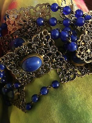 Vintage Filigree Belt With Lapis Accents