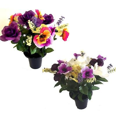 Artificial Pansy and Rose Grave Pot - Choose Type - Memorial Silk Flowers