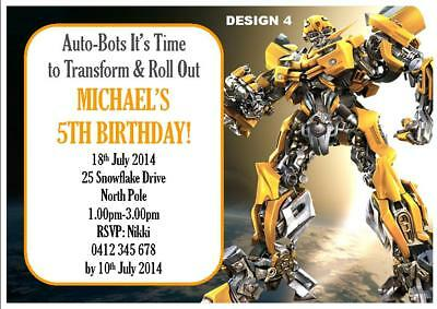 20 X TRANSFORMERS BIRTHDAY BOYS PERSONALISED INVITATIONS INVITES FREE MAGNETS