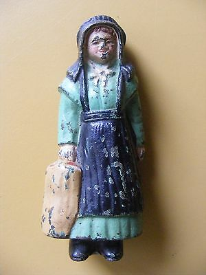 """Vintage / Antique Cast Iron Amish Girl Woman Carrying Bag 4-1/2"""""""