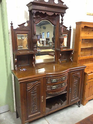 Victorian Chiffonier Mirror Sideboard carved, antique
