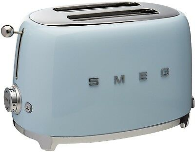 Retro Toaster 2 Slice Blue 50's Vintage Style Extra Wide Slots Stainless Steel