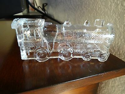 Vintage Glass Candy Container TRAIN Locmotive Depression Glass