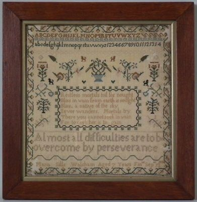 Antique Sampler, 1832, 'Perseverance' by Maria Sills