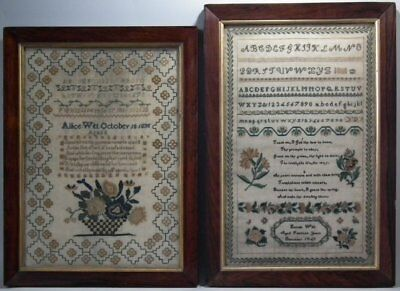 Pair Sister Samplers by Allice (1835) and Hannah (1843) Witt