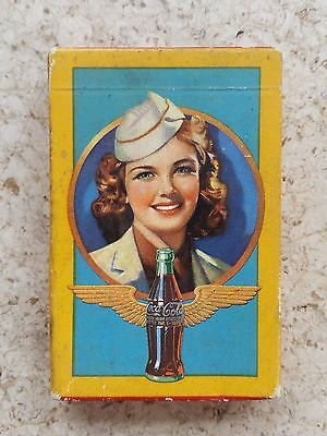 WW2 Era SEALED Coca-Cola Advertising Playing Cards - Flight Attendant!!